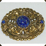 Beautiful Vintage Filigree Brooch Lapis/Murano Glass Stones