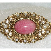 Lovely Vintage Filigree Brooch Pink Glass Bead Rhinestones Faux Pearls