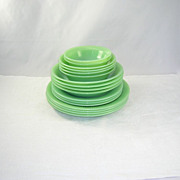 17 Vintage Pieces of Jadite Jadeite Fire King Jane Ray Pattern Dishes Bowls