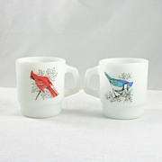 2 Vintage Fire King Mugs Blue Jays Cardinal Baltimore Oriole