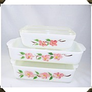 SOLD Fire King Peach Blossom Refrigerator Dish Cake Pan & Baking Pan