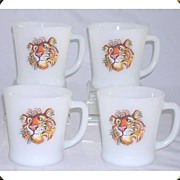 "Set of 4 Anchor Hocking Fire King Milk Glass ""Tiger"" Mugs"