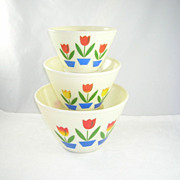 Fire King Tulip Pattern Splash Proof Mixing Bowls