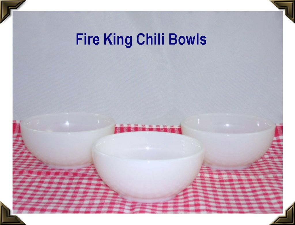 Set of 3 Vintage White Fire King Chili Bowls