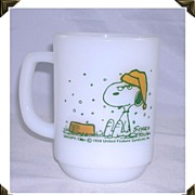 Anchor Hocking Fire King Snoopy Mug Snow On My French Toast