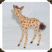 Vintage West Germany Kunstlerschutz Miniature Flocked Giraffe