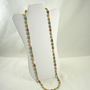 Long Gorgeous Mottled Glass Bead Single Strand Necklace Earth Tone Colors