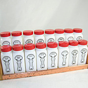 Griffiths Spice Rack 16 Milk Glass Jars Red Lids Black Lettering