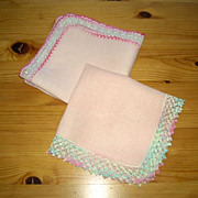 2 Pretty Pink Vintage Linen Handkerchiefs/Hankies Embroidery Tatting