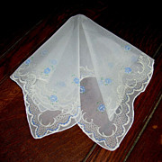 Lovely Vintage Handkerchief/Hanky Blue Roses White Flocking