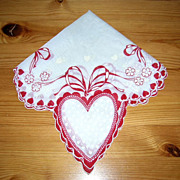 SOLD Vintage Valentine Handkerchief/Hanky Artistic Design Red Hearts Ribbons & Flocking