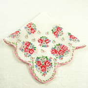 Pretty Flower Bouquets Vintage Handkerchief/Hanky