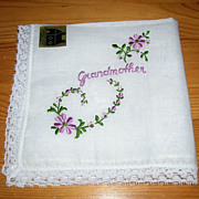 Beautiful NOS Vintage Embroidered Grandmother Handkerchief/Hanky Swiss Made