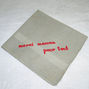 Sheer Vintage Grey Handkerchief Hanky Red Embroidery Saying in French