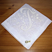 Pretty Vintage NOS Initial J Handkerchief/Hanky White On White