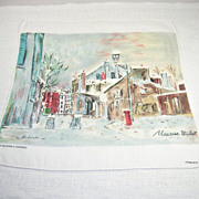 Vintage Handkerchief Hanky Montmartre Artist Maurice Utrillo