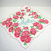 Cheery Vintage Handkerchief/Hanky Mother Flowers