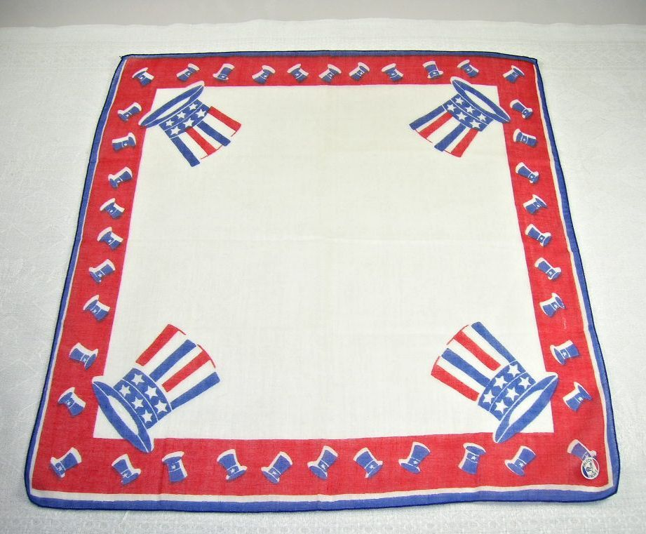 Vintage Patriotic USA Uncle Sam Hat Stars Stripes Handkerchief Hanky NOS