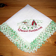 Vintage A Present From Ireland Linen Embroidered Handkerchief/Hanky