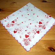 SOLD Sheer Vintage Valentine Handkerchief/Hanky Red White Hearts & Roses