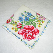 Striking Vintage Handkerchief/Hanky Decorated With Bright Colorful Flowers