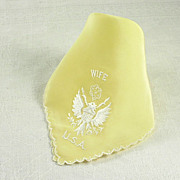 Endearing Vintage Wife USA Yellow Handkerchief Hanky White Embroidery