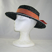 Vintage Betmar New York Paris Black Woven Straw Hat White Trim