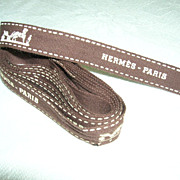 SOLD Hermes Paris Chocolate Brown White Decorated Ribbon