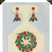 Holiday Enameled Holly & Berry Demi Parure Brooch & Earrings