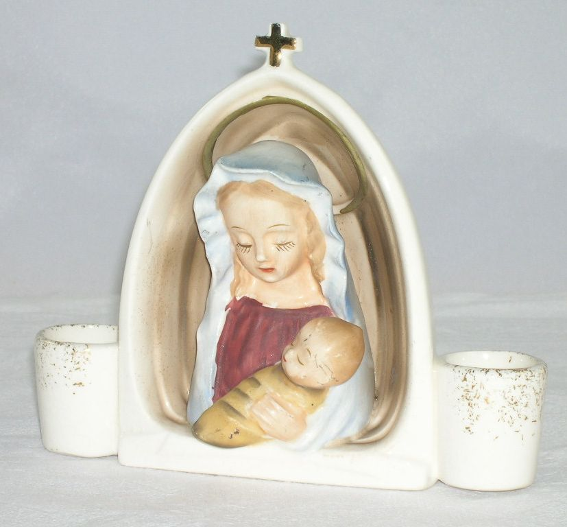1959 Holt Howard Mary/Madonna & Baby Jesus Candle Holder