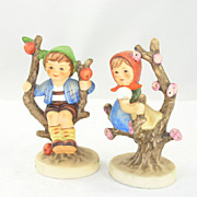 2 Endearing Classic Goebel Hummel Figurines Apple Tree Girl Apple Tree Boy