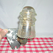 Unique Hemingray Glass Insulator Wood Cobb Screw Metal Wall Mount