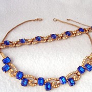 Royal Blue & Clear Rhinestone Demi Parure Necklace & Bracelet  Wiesner N Y
