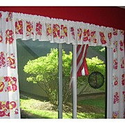SOLD 1950's Kitchen Curtains & Valance Apples Pears & Flowers