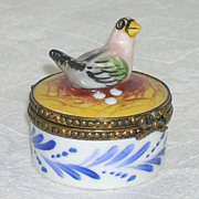Limoges Miniature Small Hinged Box Nesting Bird