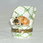 SOLD Limoges Miniature Small Hinged Box Cat Mouse & Chair