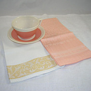 SOLD 2 Lovely Vintage Linen Damask Tea/Hand Towels