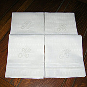 Set of 4 Gorgeous Vintage Monogrammed K Linen Bath Towels