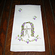 Vintage Strolling Gentleman Embroidered Linen Tea/Hand Towel