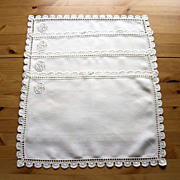 Set of 4 Gorgeous Vintage Monogrammed Linen Lace Placemats