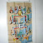 NOS Vintage Ulster Linen Towel Wine Bottles Italy France Germany Spain