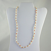 Mother of Pearl MOP & Coral Single Strand Necklace