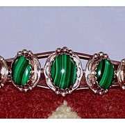 Beautiful Vintage Native American Malachite & Sterling Cuff Bracelet
