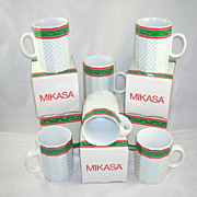 Set of 6 Mikasa Christmas Chintz Fine China Mugs Original Boxes