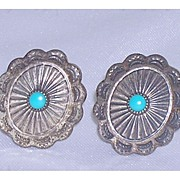 Vintage Native American Clip-On Earrings Hand Stamped Sterling Turquoise