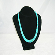 Gorgeous Vintage Native American Turquoise Necklace Rondelle Beads