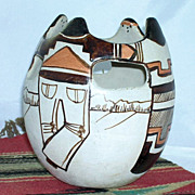 Native American Pottery Friendship Vase Vessel Signed Tohono Angea
