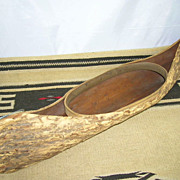 1938 Native Canadian Indian Folk Art Canoe Elm Bark