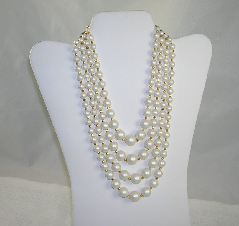 NOS 4 Strand Graduated Faux Pearl Gold Bead Necklace Japan