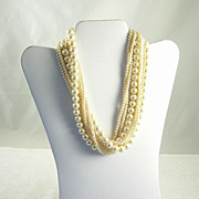 Vintage 8 Strand White Faux Pearl Bead Necklace
